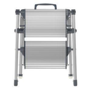 Trappestige 2 trin med ekstra brede trin i aluminium